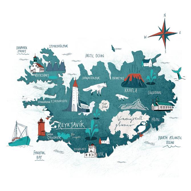 Iceland map Tonwen Jones